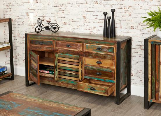 Shoreditch Rustic Large Sideboard Reclaimed Wood image 2