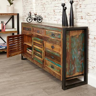 Shoreditch Rustic Large Sideboard Reclaimed Wood image 3