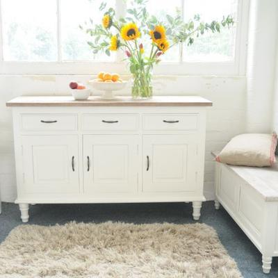 Bayonne Three Door Sideboard Antique White or French Grey image 3
