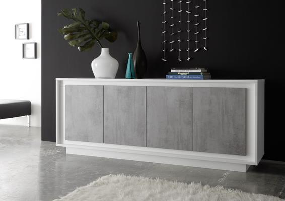 Luna Four Door Sideboard - Matt White/Grey