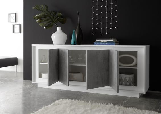Luna Four Door Sideboard - Matt White/Grey image 2
