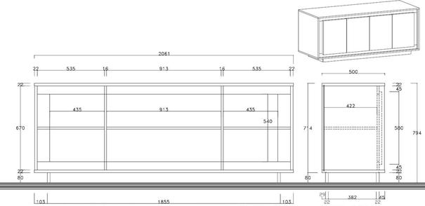 Luna Four Door Sideboard - Matt White/Grey image 3