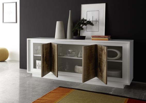 Luna Four Door Sideboard - Matt White/Natural image 2