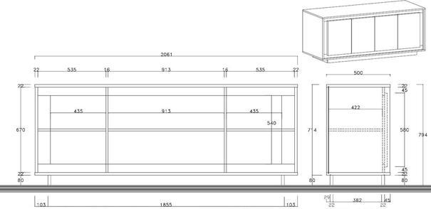 Luna Four Door Sideboard -  Cognac Finish image 3
