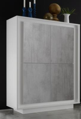 Luna Four Door High Sideboard - Matt White/Grey