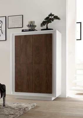Luna Four Door High Sideboard - Matt White/Cognac