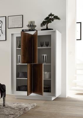 Luna Four Door High Sideboard - Matt White/Cognac image 2