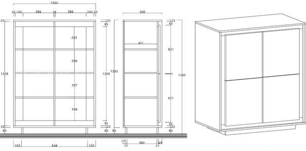 Luna Four Door High Sideboard - Matt White/Cognac image 3