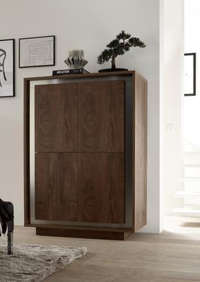 Luna Four Door High Sideboard - Cognac Finish