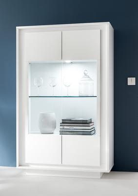 Luna Two Door Display Cabinet Inc. LED Spot Light - Matt White