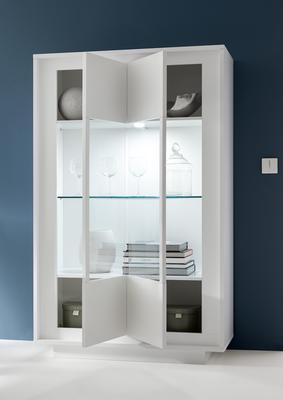 Luna Two Door Display Cabinet Inc. LED Spot Light - Matt White image 2