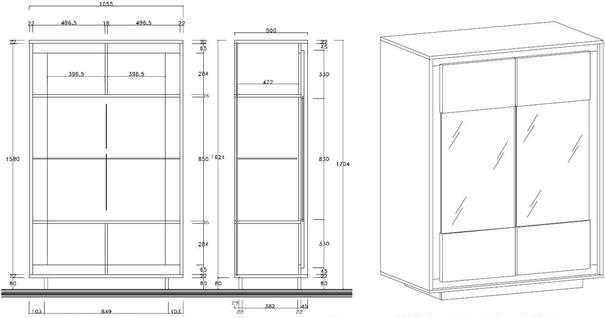 Luna Two Door Display Cabinet Inc. LED Spot Light - Matt White image 3