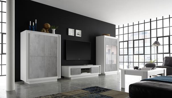 Luna Two Door Display Cabinet inc. LED Spot light - Matt White/Grey image 2