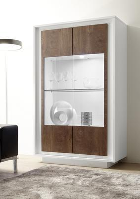 Luna Two  Door Display Cabinet inc. LED Spot Light - Matt White/Cognac
