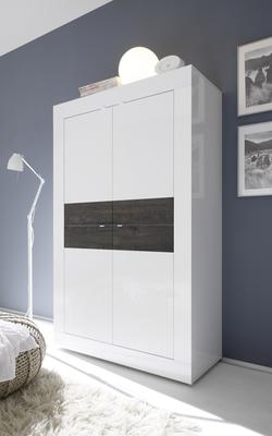 Urbino Collection Four Door High Sideboard - Gloss White and Wenge
