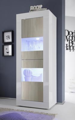 Urbino Collection Two Door Display Vitrine - Gloss White and Light Oak Finish with Two LED Spotlights
