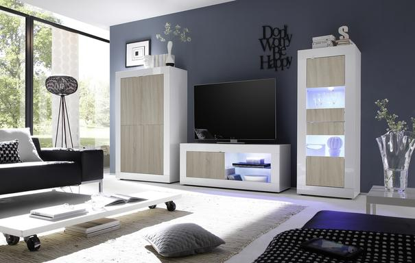 Urbino Collection Two Door Display Vitrine - Gloss White and Light Oak Finish with Two LED Spotlights image 2