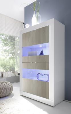 Urbino Collection Four Door Vitrine Including Two LED Spot Light - Gloss White Lacquer/Light Oak