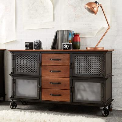 Evoke 4 Door 4 Drawer Sideboard Reclaimed Metal and Wood