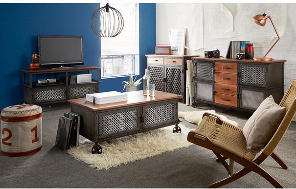 Evoke 2 Door 2 Drawer Sideboard Reclaimed Metal and Wood image 2