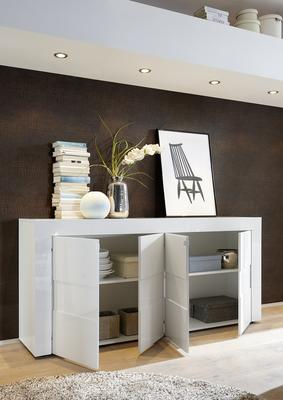 Napoli Four Door Sideboard - Gloss White/Grey Finish image 2