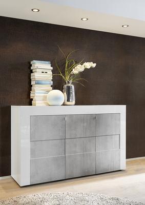 Napoli Three Door Sideboard - White Gloss/Grey Finish