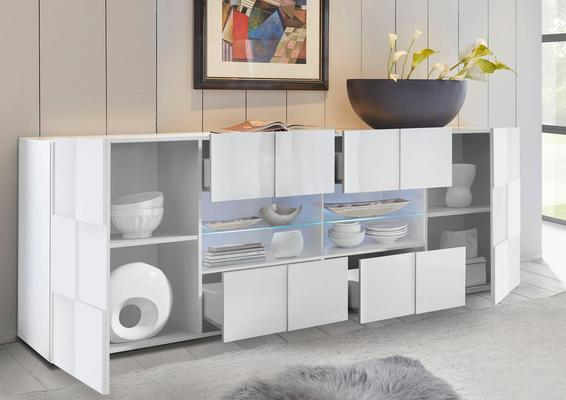Treviso Long Sideboard - Two Doors/Four Drawers White High Gloss image 5