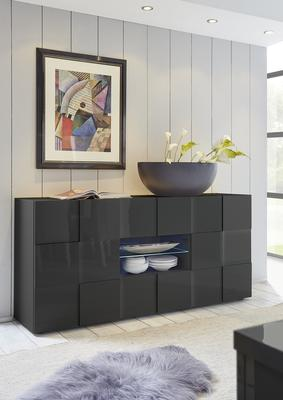 Treviso Sideboard - Two Doors/Two Drawers High Gloss Grey Finish