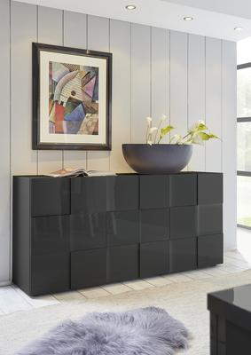 Treviso Sideboard - Three Doors High Gloss Grey Finish