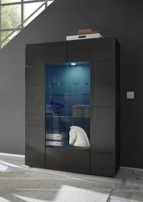 Treviso  Two Door Display Cabinet - Gloss Grey Finish Including LED Spot Light