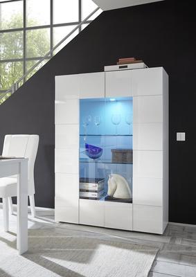 Treviso Two Door Display Cabinet - Gloss White Finish Including LED Spotlight