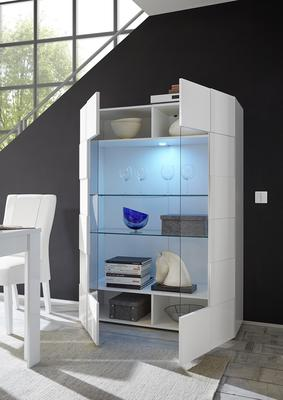 Treviso Two Door Display Cabinet - Gloss White Finish Including LED Spotlight image 2