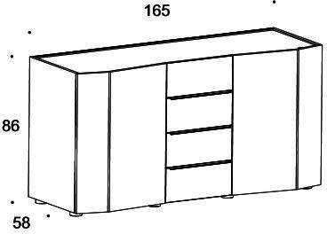 Elysee 2 door 4 drawer sideboard image 6
