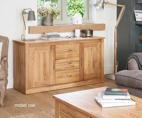 Mobel Solid Oak Modern Large Sideboard 3 Drawer 2 Door