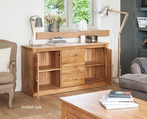 Mobel Solid Oak Modern Large Sideboard 3 Drawer 2 Door image 2