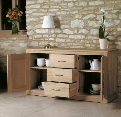 Mobel Solid Oak Modern Large Sideboard 3 Drawer 2 Door image 3