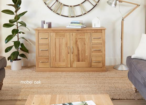 Mobel Solid Oak Modern Sideboard 6 Drawer 2 Door
