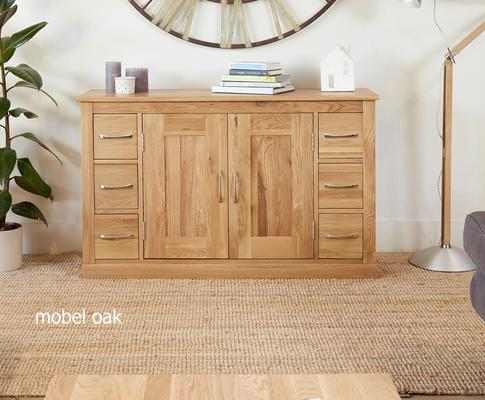 Mobel Solid Oak Modern Sideboard 6 Drawer 2 Door image 2