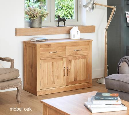 Mobel Solid Oak Modern Small Sideboard 2 Drawer 2 Door image 2