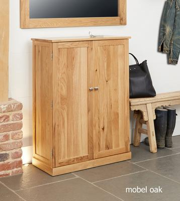 Mobel Oak Large Shoe Cupboard Contemporary image 2