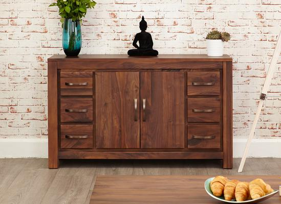 Mayan Walnut Sideboard Six Drawer Rustic