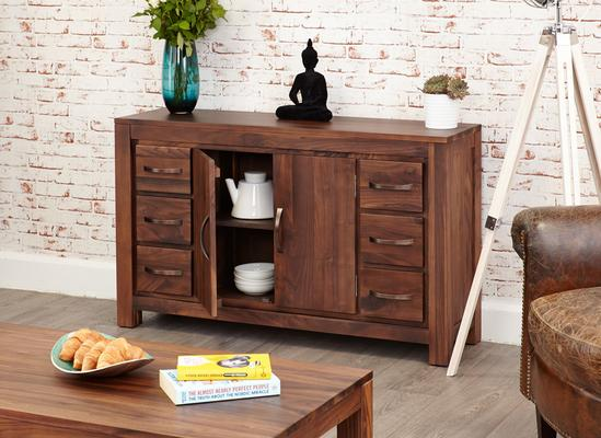 Mayan Walnut Sideboard Six Drawer Rustic image 2