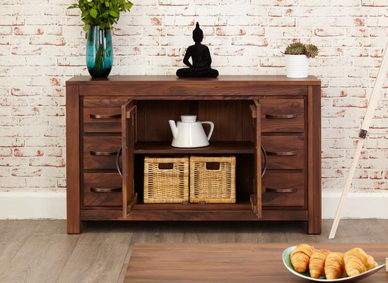 Mayan Walnut Sideboard Six Drawer Rustic image 3