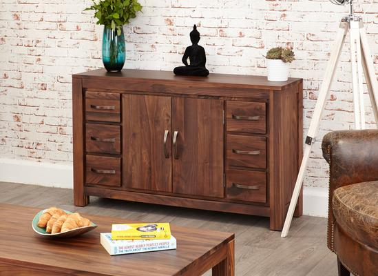 Mayan Walnut Sideboard Six Drawer Rustic image 5