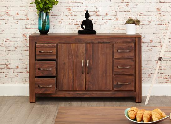 Mayan Walnut Sideboard Six Drawer Rustic image 6