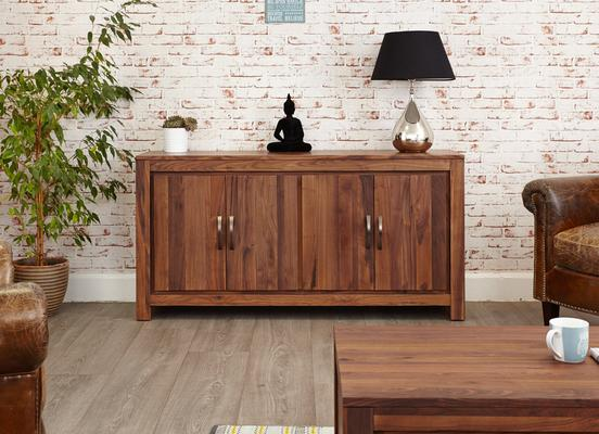 Mayan Walnut Large Low Four Door Sideboard Rustic image 2