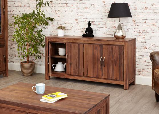 Mayan Walnut Large Low Four Door Sideboard Rustic image 3