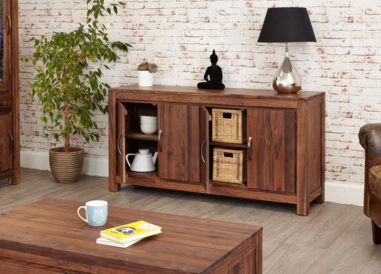 Mayan Walnut Large Low Four Door Sideboard Rustic image 5