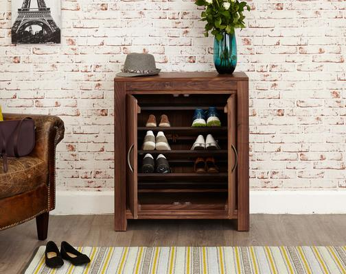Mayan Walnut Shoe Cupboard Rustic Design image 2