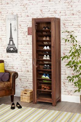 Mayan Walnut Extra Large Shoe Cupboard Rustic image 2